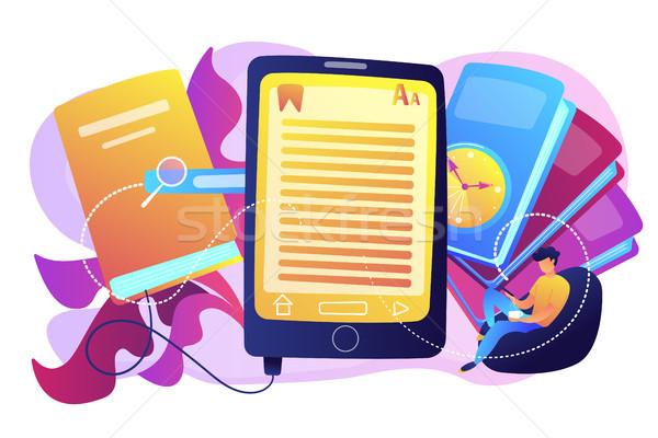 Ebook usuário leitura comprimido livros digital Foto stock © RAStudio