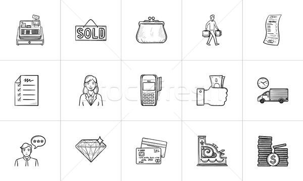 Vásárlás fizet kézzel rajzolt skicc firka ikon gyűjtemény Stock fotó © RAStudio