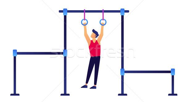 гимнаст кольцами подвесной активный жизни гимнастики Сток-фото © RAStudio