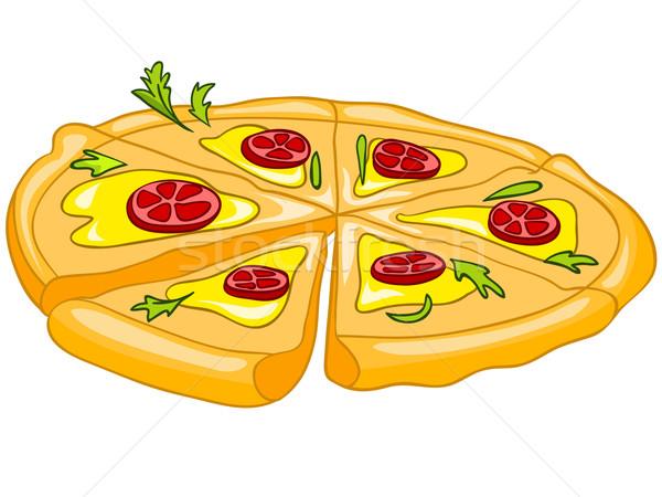 Cartoon продовольствие пиццы белый фон вектора Сток-фото © RAStudio