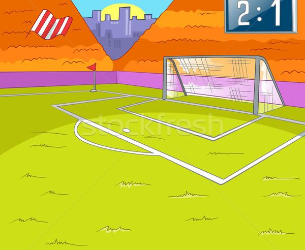 Terrain de football herbe porte vecteur cartoon eps Photo stock © RAStudio