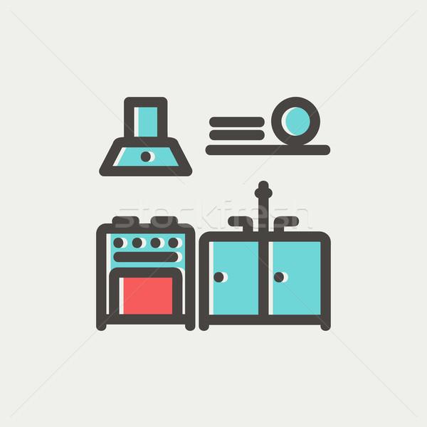 Keuken interieur dun lijn icon web mobiele Stockfoto © RAStudio