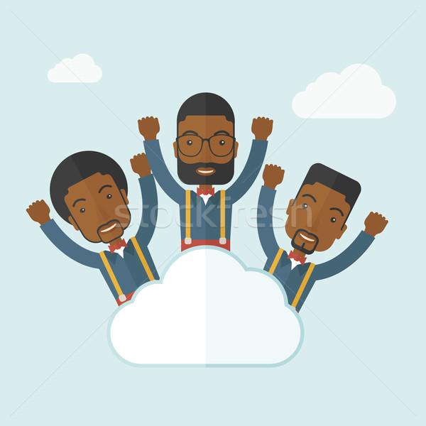 Three happy businessmen on the cloud. Stock photo © RAStudio