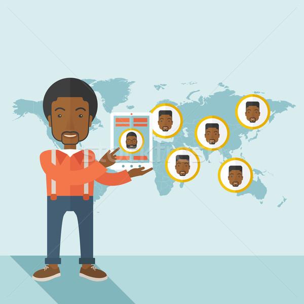 World map with same faces every destination. Stock photo © RAStudio