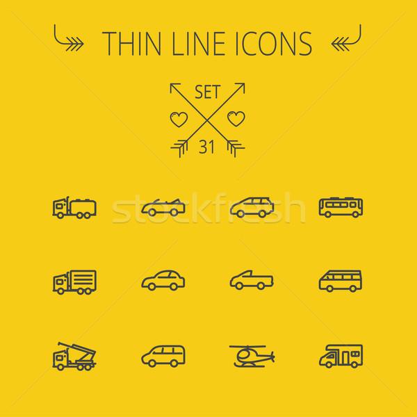 Transportation thin line icon set Stock photo © RAStudio