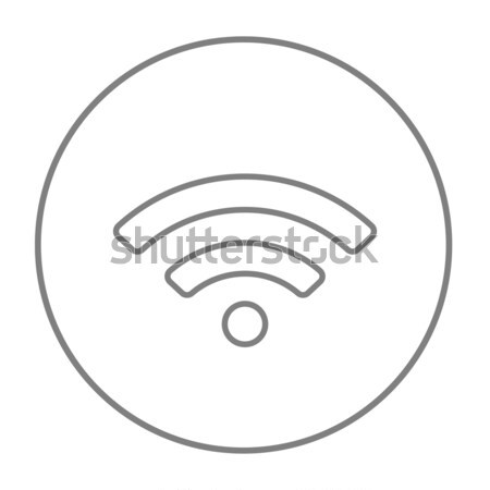 Wifi delgado línea icono web móviles Foto stock © RAStudio