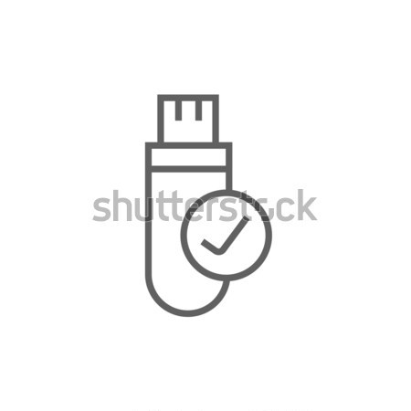 USB flash drive thin line icon Stock photo © RAStudio