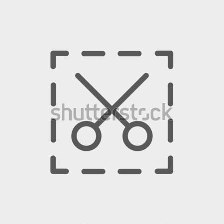 Scissors with cut lines thin line icon Stock photo © RAStudio