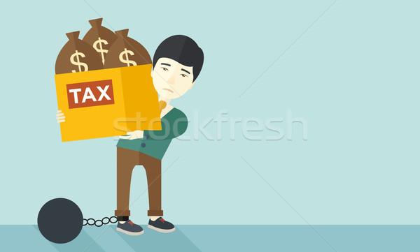 Kínai üzletember zárolt adósság labda lánc Stock fotó © RAStudio