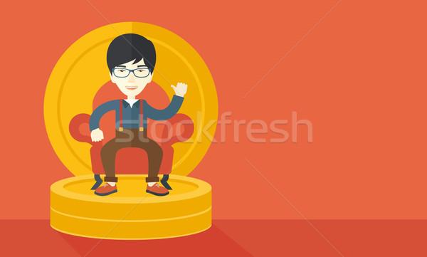 Successful japanese businessman smiling while sitting Stock photo © RAStudio