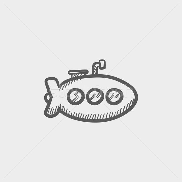Onderzeeër schets icon web mobiele Stockfoto © RAStudio