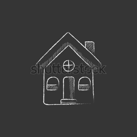 Stock photo: Detached house icon drawn in chalk.