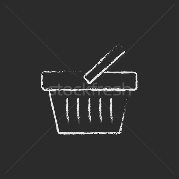 Bevásárlókosár ikon rajzolt kréta kézzel rajzolt iskolatábla Stock fotó © RAStudio