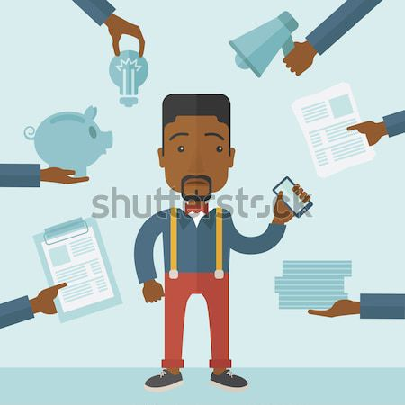 Werk overbelasten zwarte zakenman verward vector Stockfoto © RAStudio