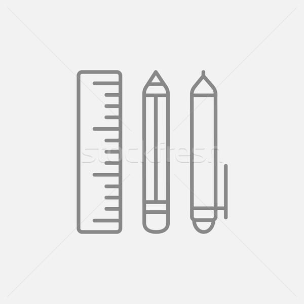 School supplies line icon. Stock photo © RAStudio