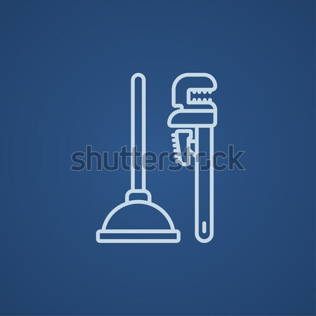 Pipe wrenches and plunger line icon. Stock photo © RAStudio