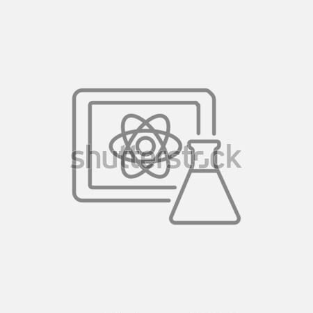 атом знак совета колба линия Сток-фото © RAStudio