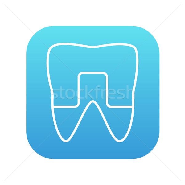 Foto stock: Diente · línea · icono · web · móviles · infografía