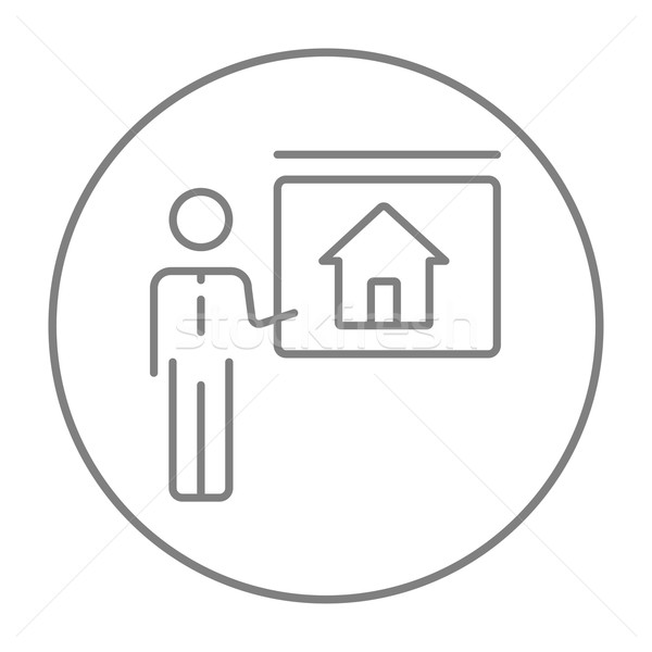 Real estate agent showing house line icon. Stock photo © RAStudio