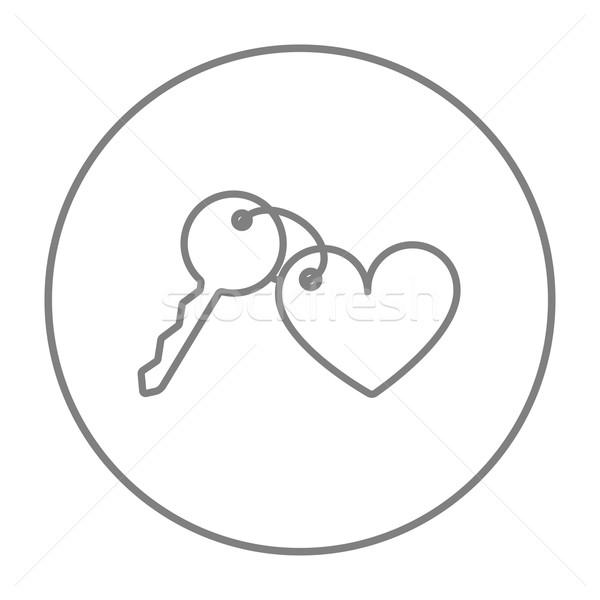 Bugiganga teclas coração linha ícone teia Foto stock © RAStudio
