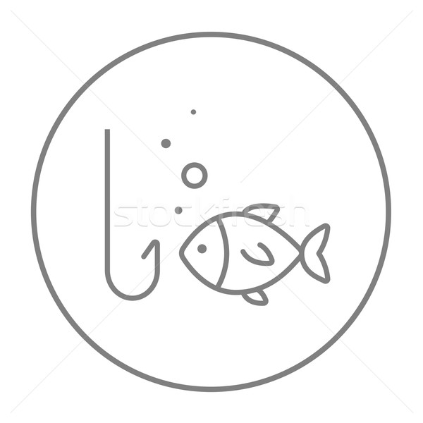 Fish with hook line icon. Stock photo © RAStudio