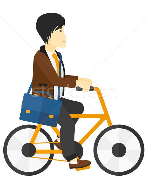 Uomo ciclismo lavoro asian vettore design Foto d'archivio © RAStudio