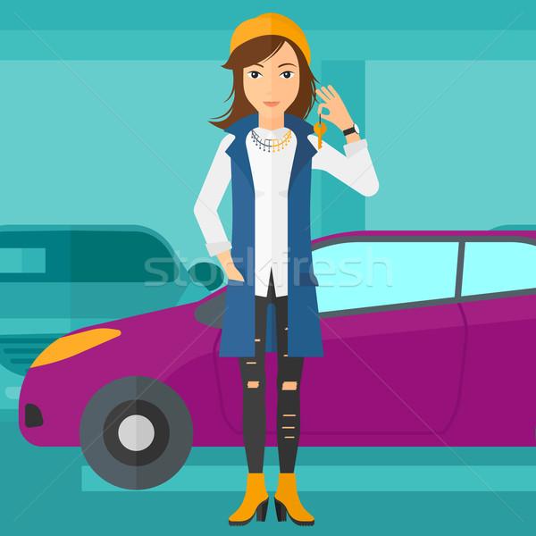 женщину ключами Новый автомобиль автомобилей магазин Сток-фото © RAStudio