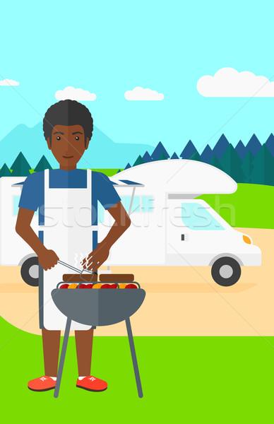 Férfi barbecue erdő vektor terv illusztráció Stock fotó © RAStudio