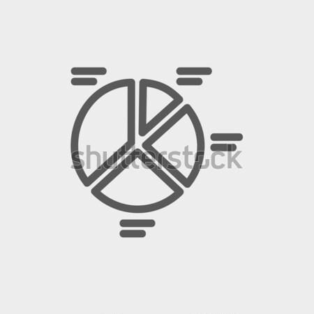 Cirkeldiagram lijn icon hoeken web mobiele Stockfoto © RAStudio