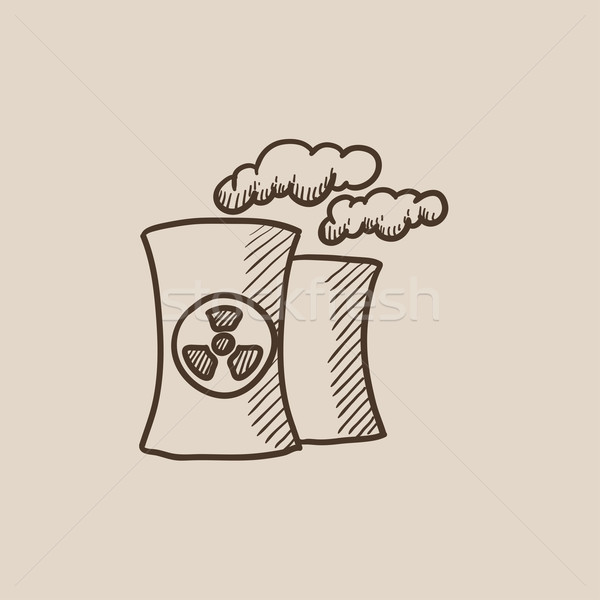 Foto stock: Nuclear · usina · esboço · ícone · teia · móvel