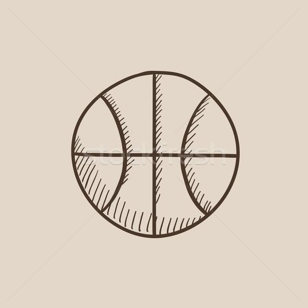 Basketball Ball Skizze Symbol Web mobile Stock foto © RAStudio