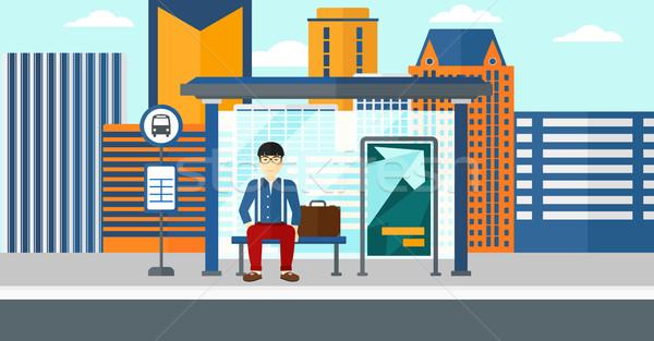 Homem espera ônibus asiático cidade vetor Foto stock © RAStudio