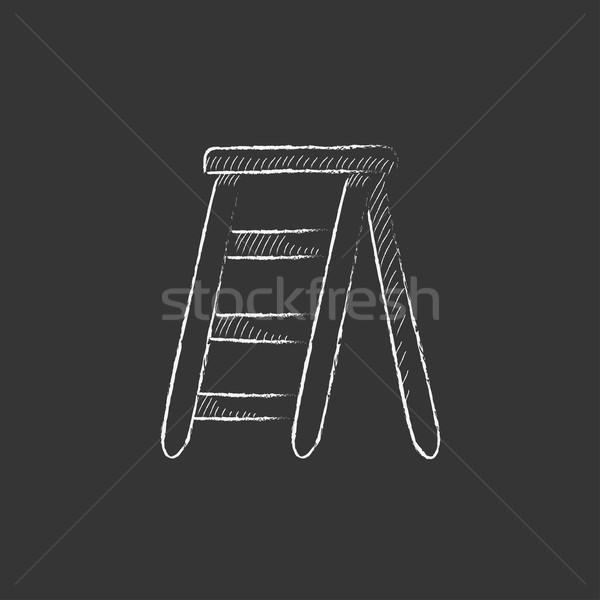 Stepladder. Drawn in chalk icon. Stock photo © RAStudio