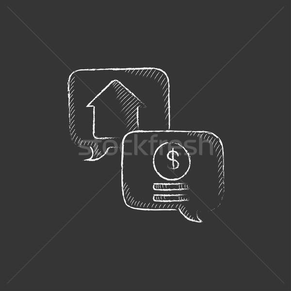 Immobilien Transaktion gezeichnet Kreide Symbol Hand gezeichnet Stock foto © RAStudio