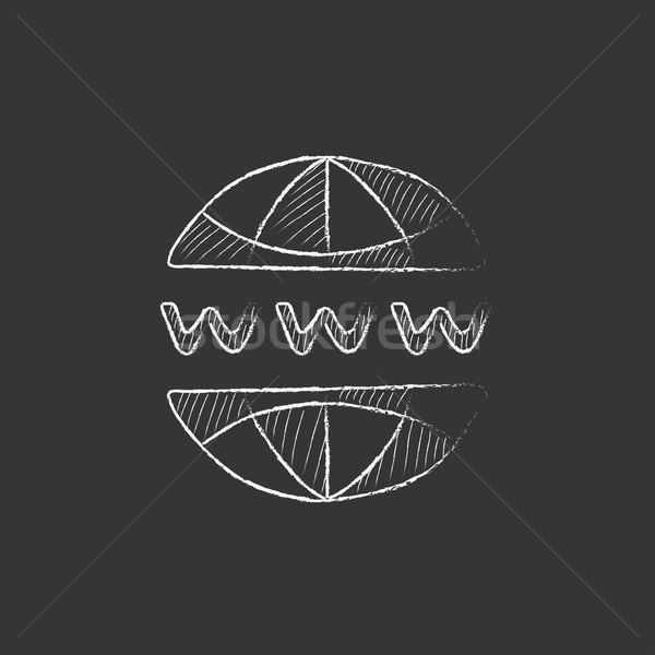 Globe internet. Drawn in chalk icon. Stock photo © RAStudio