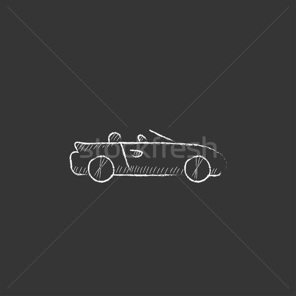 Convertible car. Drawn in chalk icon. Stock photo © RAStudio