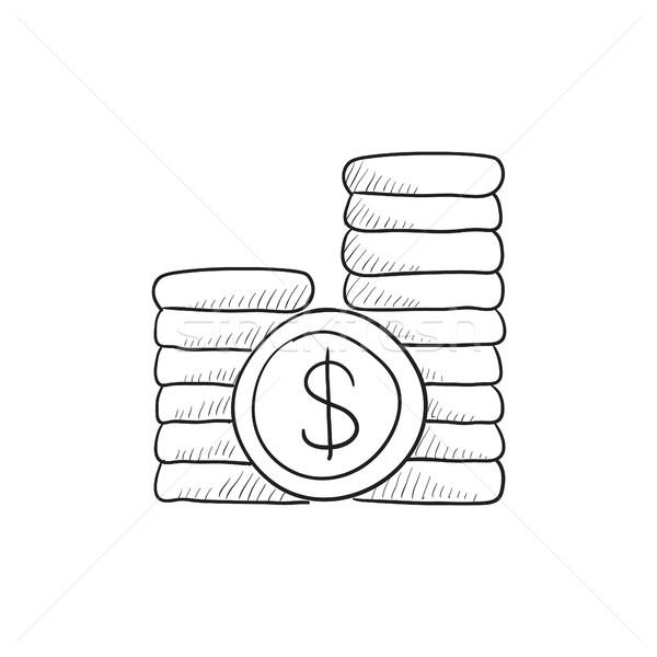 Dollar coins sketch icon. Stock photo © RAStudio