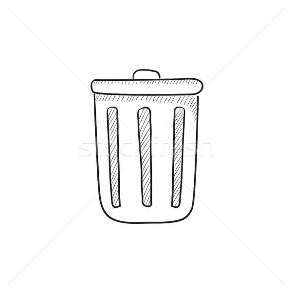 мусорное ведро эскиз икона вектора изолированный рисованной Сток-фото © RAStudio