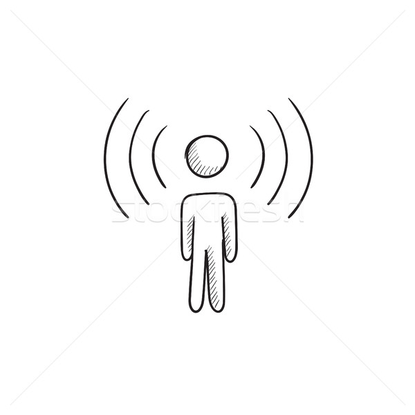 Man with soundwaves sketch icon. Stock photo © RAStudio