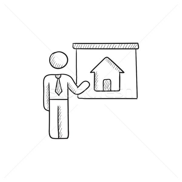 Agente immobiliare casa sketch icona vettore Foto d'archivio © RAStudio