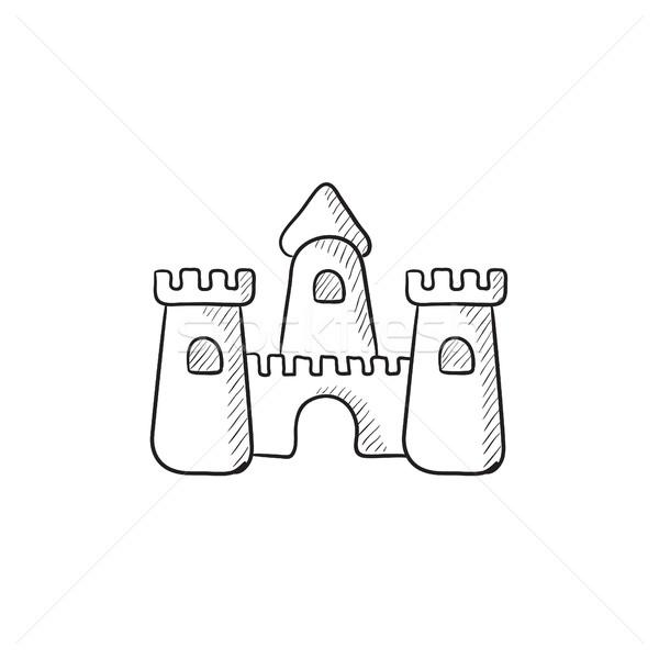Homokvár rajz ikon vektor izolált kézzel rajzolt Stock fotó © RAStudio
