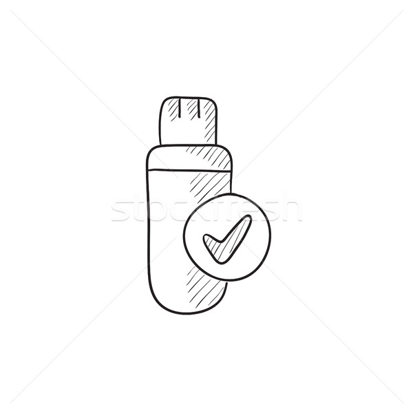 Stockfoto: Usb · flash · drive · schets · icon · vector · geïsoleerd