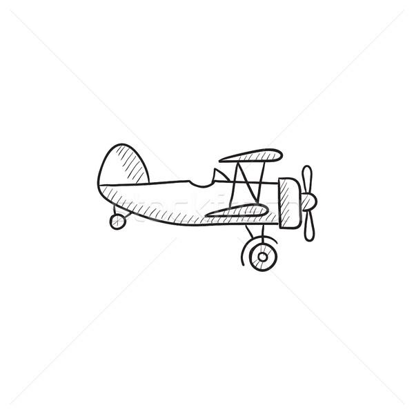 Propeller repülőgép rajz ikon vektor izolált Stock fotó © RAStudio