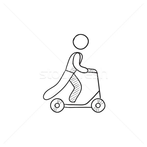 Man riding kick scooter sketch icon. Stock photo © RAStudio