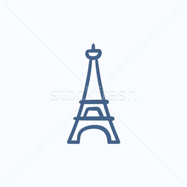 Eiffel-torony rajz ikon vektor izolált kézzel rajzolt Stock fotó © RAStudio