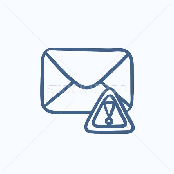 Boríték posta figyelmeztetés jel rajz ikon Stock fotó © RAStudio
