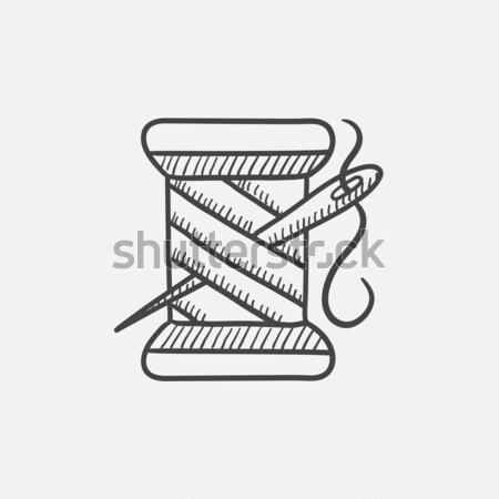 Spool of thread and needle sketch icon. Stock photo © RAStudio