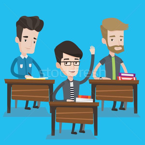Diák kéz osztály válasz osztályterem boldog Stock fotó © RAStudio