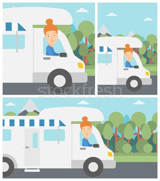 Woman driving motor home vector illustration. Stock photo © RAStudio