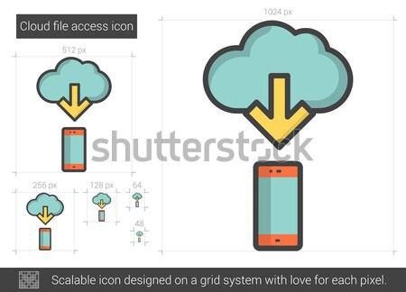облаке файла доступ линия икона вектора Сток-фото © RAStudio